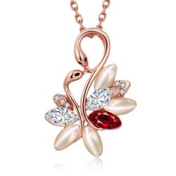 Vienna Jewelry Rose Gold Plated Ruby Gem Floral Necklace - Thumbnail 0