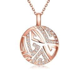 Vienna Jewelry Rose Gold Plated Oriental Emblem Necklace - Thumbnail 0