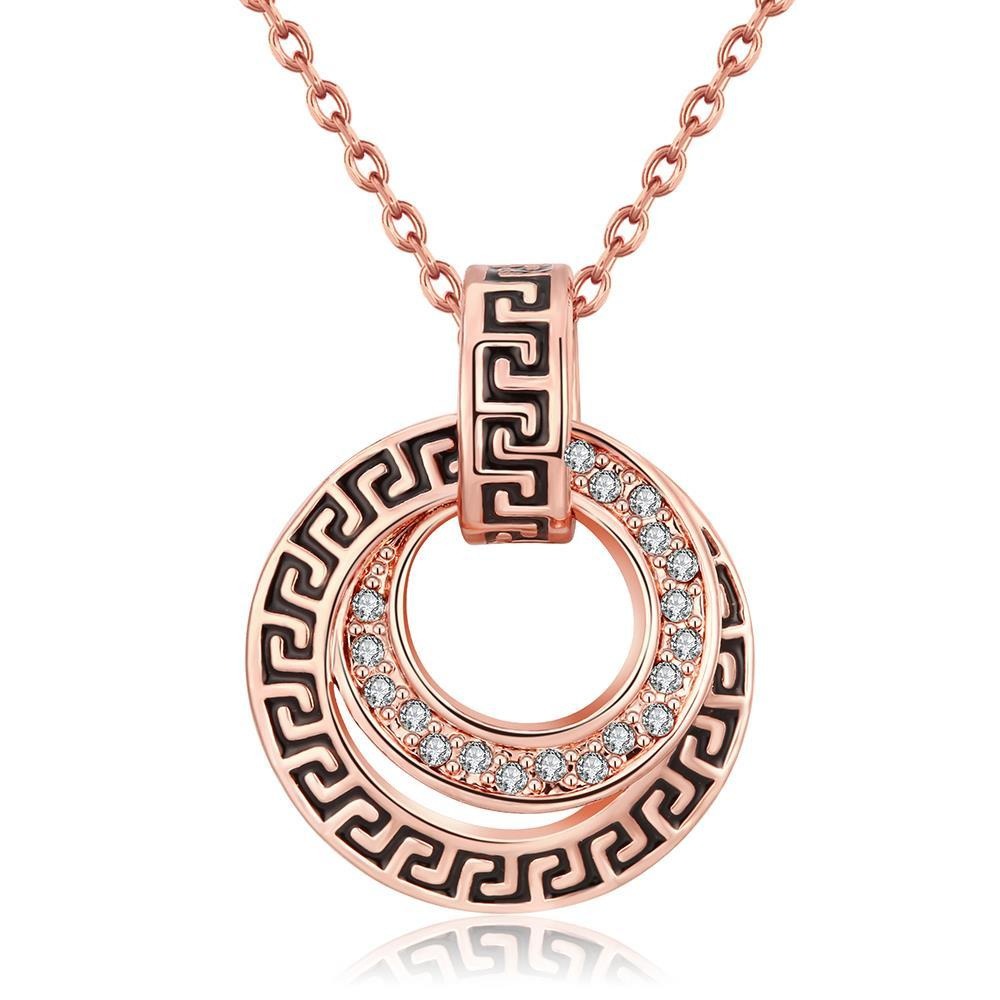 Vienna Jewelry 18K Rose Gold Plated Medallion StyleNecklace