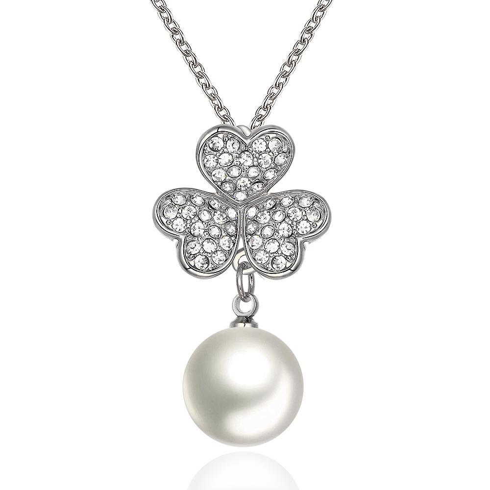 Vienna Jewelry White Gold Plated Petite Pearl Necklace