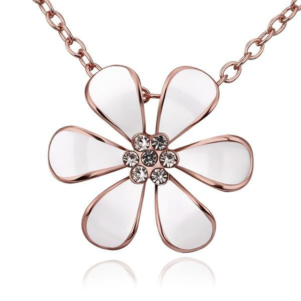 Vienna Jewelry Rose Gold Plated Large Ivory Floral Petal Emblem Necklace