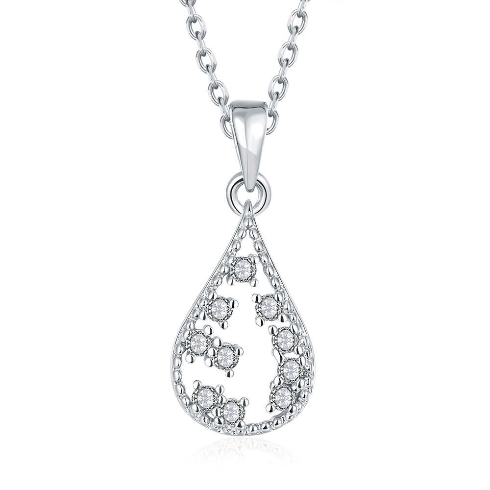 Vienna Jewelry White Gold Plated Jewels Ingrain Necklace