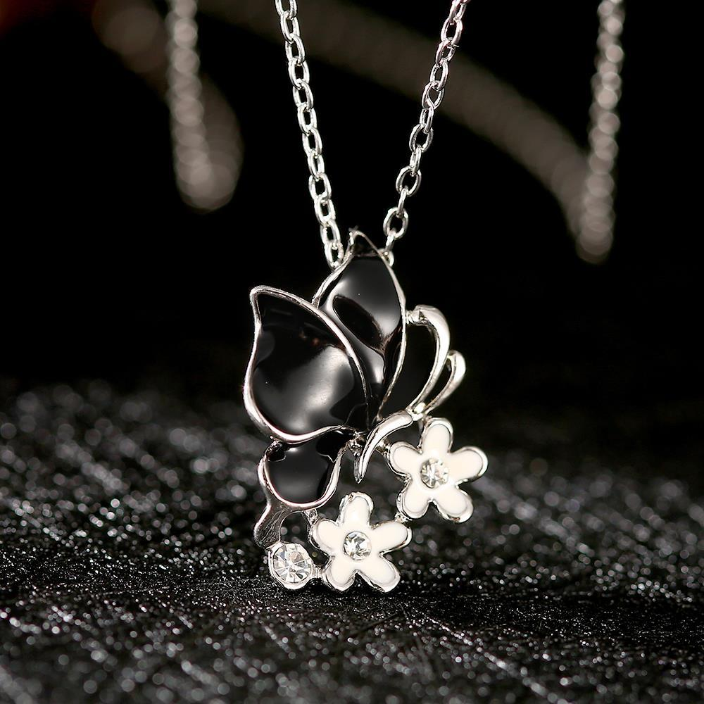 Vienna Jewelry White Gold Plated Onyx Butterfly Floral Emblem Necklace