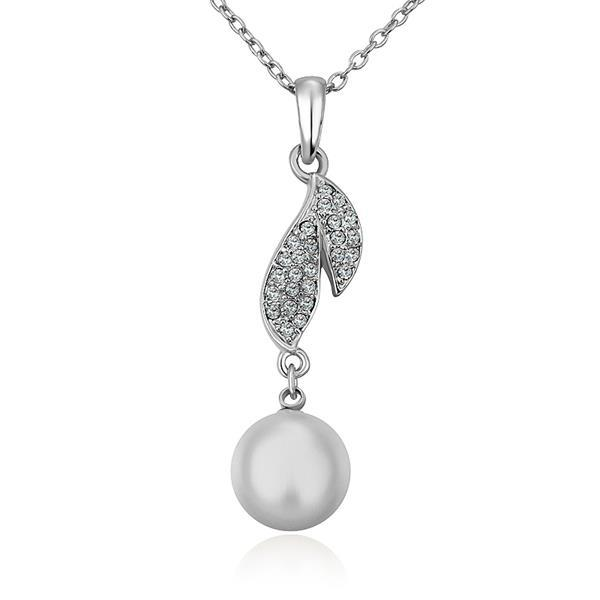 Vienna Jewelry White Gold Plated Classical Dangling Pearl Necklace