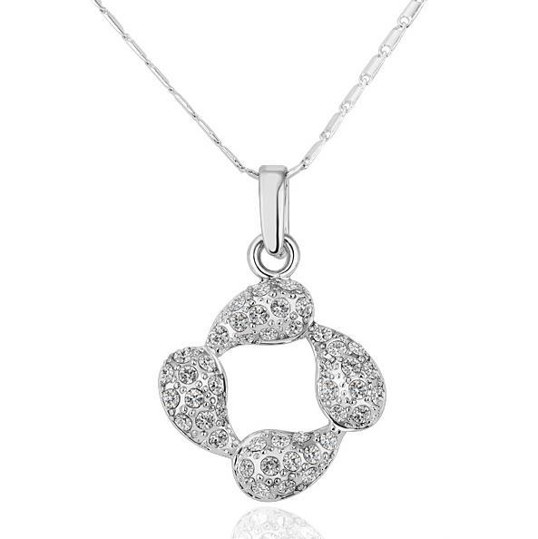 Vienna Jewelry White Gold Plated Never-Ending Emblem Necklace