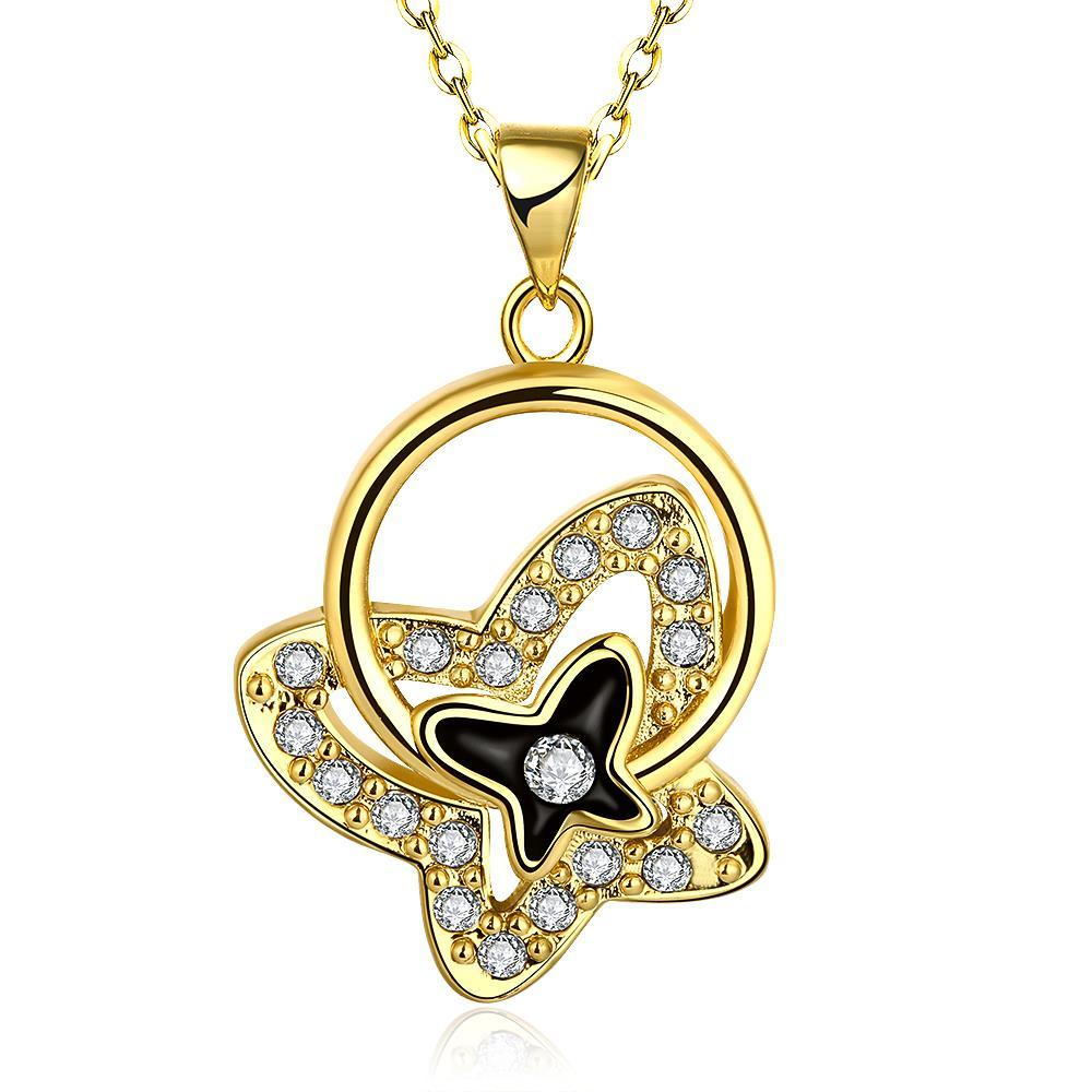 Vienna Jewelry Gold Plated Petite Butterfly Necklace