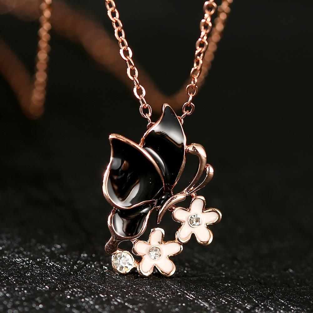 Vienna Jewelry Rose Gold Plated Onyx Butterfly Floral Emblem Necklace