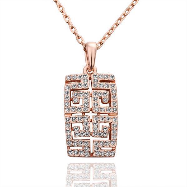 Vienna Jewelry Gold Plated Geometric Cut Emblem Necklace
