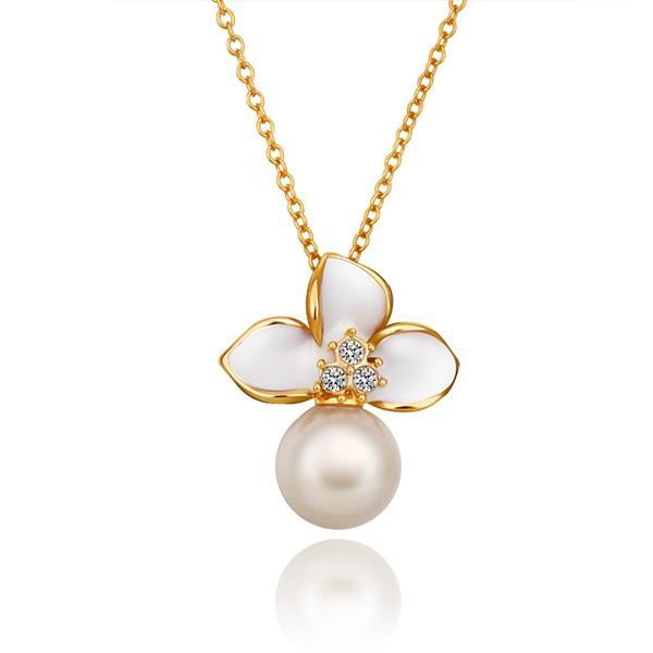 Vienna Jewelry Gold Plated Ivory Trio-Petals Emblem Necklace
