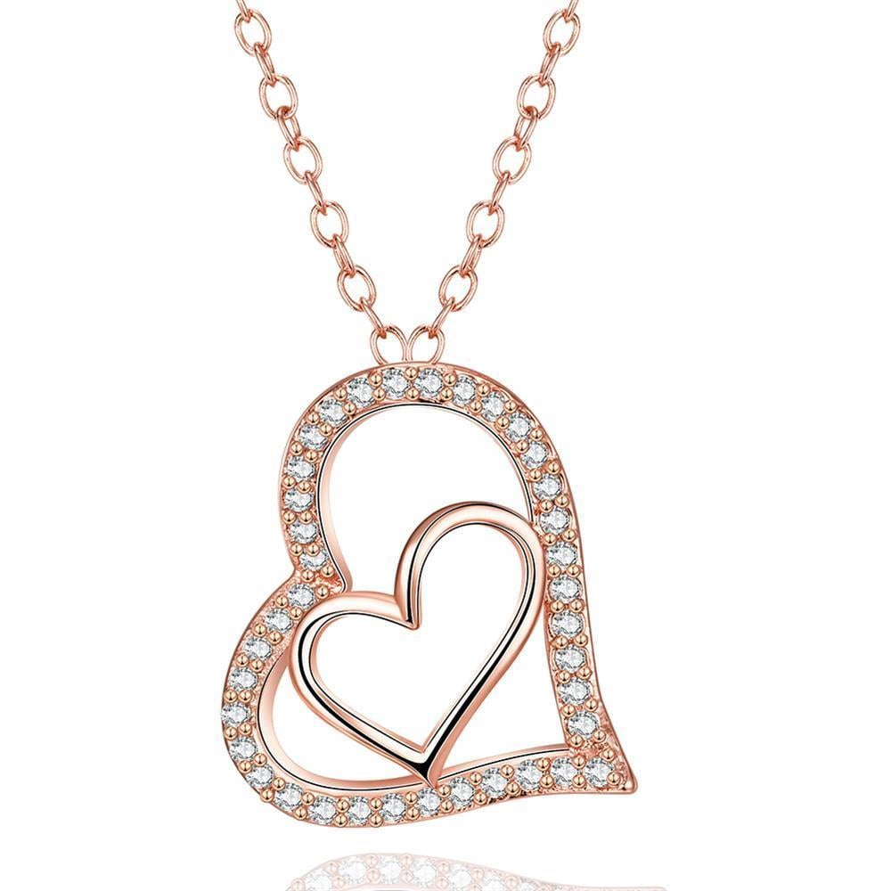 Vienna Jewelry Rose Gold Plated Love Within Necklace