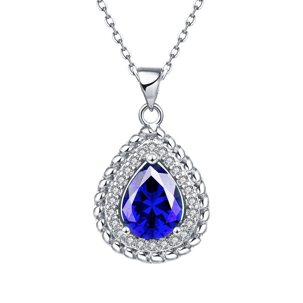 Vienna Jewelry White Gold Plated Pyramid Saphire Gem Necklace