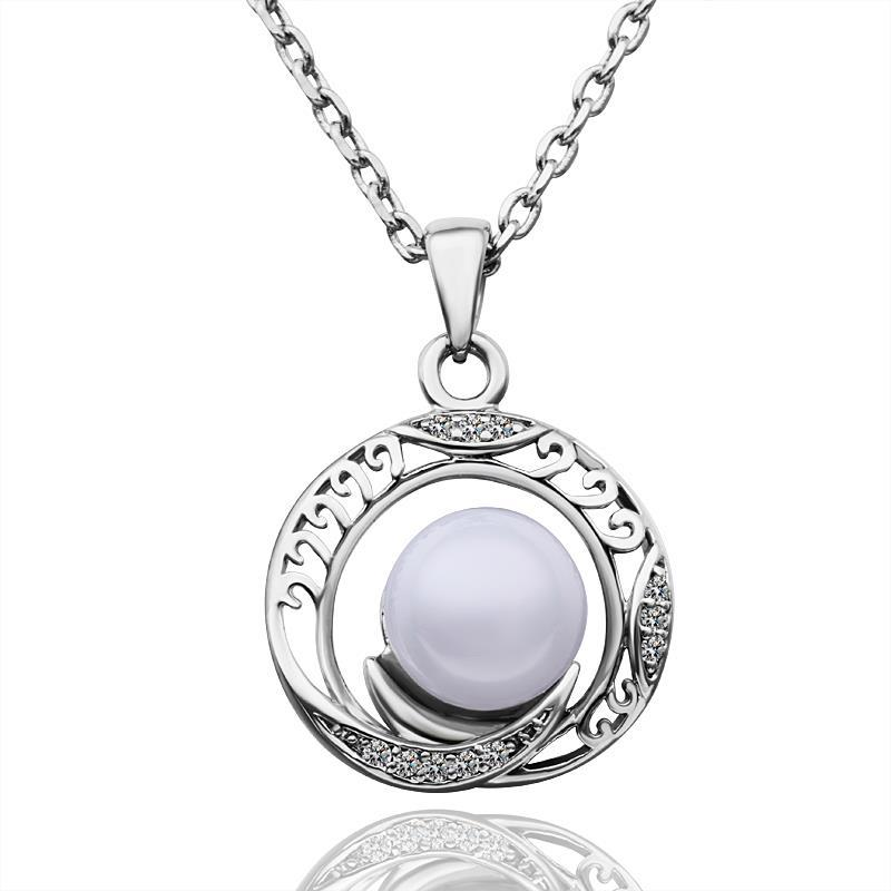 Vienna Jewelry White Gold Plated Circular Design Pearl Necklace