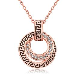 Vienna Jewelry 18K Rose Gold Plated Medallion StyleNecklace - Thumbnail 0