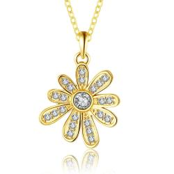 Vienna Jewelry Gold Plated Spiral Snowflake Drop Necklace - Thumbnail 0