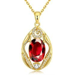 Vienna Jewelry Gold Plated Classic London Ruby Necklace - Thumbnail 0