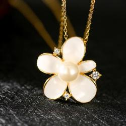 Vienna Jewelry Gold Plated Coral Ivory Floral Pearl Emblem Necklace - Thumbnail 0