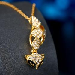 Vienna Jewelry Gold Plated Kitty Cat Dangling Drop Necklace - Thumbnail 0
