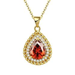 Vienna Jewelry Gold Plated Pyramid Ruby Gem Necklace - Thumbnail 0