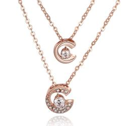 Vienna Jewelry Rose Gold Plated Duo-Crescent Crystal Necklace - Thumbnail 0