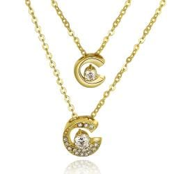Vienna Jewelry Gold Plated Duo-Crescent Crystal Necklace - Thumbnail 0