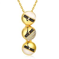 Vienna Jewelry Gold Plated Trio-Ivory Lining Dangling Necklace - Thumbnail 0
