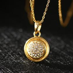 Vienna Jewelry Gold Plated Crystal Infused Pendant Necklace - Thumbnail 0