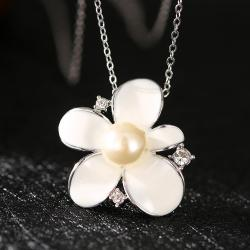 Vienna Jewelry White Gold Plated Ivory Pearl Floral Necklace - Thumbnail 0