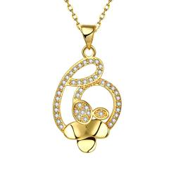 Vienna Jewelry Gold Plated Interlined Heart Necklace - Thumbnail 0
