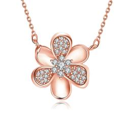 Vienna Jewelry Rose Gold Plated Mini Clover * Pendant Necklace - Thumbnail 0