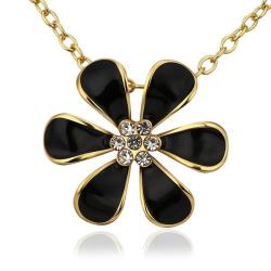 Vienna Jewelry Gold Plated Large Onyx Floral Petal Emblem Necklace - Thumbnail 0