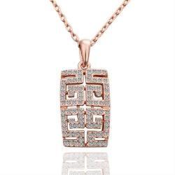 Vienna Jewelry Gold Plated Geometric Cut Emblem Necklace - Thumbnail 0