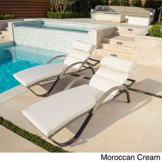 Cannes Set of 2 Chaise Lounges by RST Brands (Option: Cream)