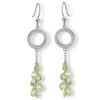 Avanti Sterling Silver Green Cubic Zirconia Drop Earrings