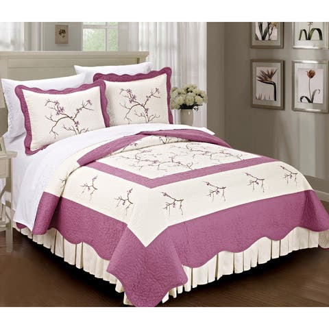 Serenta Prewashed 100-percent Cotton Embroidered Cherry Blossom 3-piece Bedspread Set