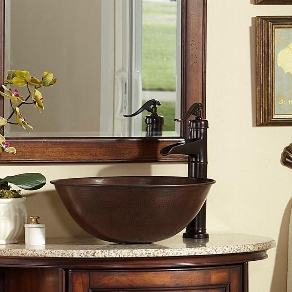 """Sinkology Eddington 16""""Handmade Counter Vessel Sink in Aged Copper. Opens flyout."""