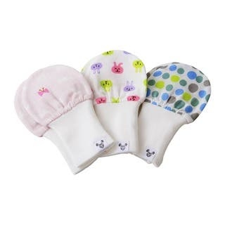 Crummy Bunny Bows, Bunnies, and Polka-dots Cotton Gauze Baby Mittens (Set of 3)|https://ak1.ostkcdn.com/images/products/10100110/P17241303.jpg?impolicy=medium