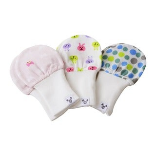 Crummy Bunny Bows, Bunnies, and Polka-dots Cotton Gauze Baby Mittens (Set of 3)
