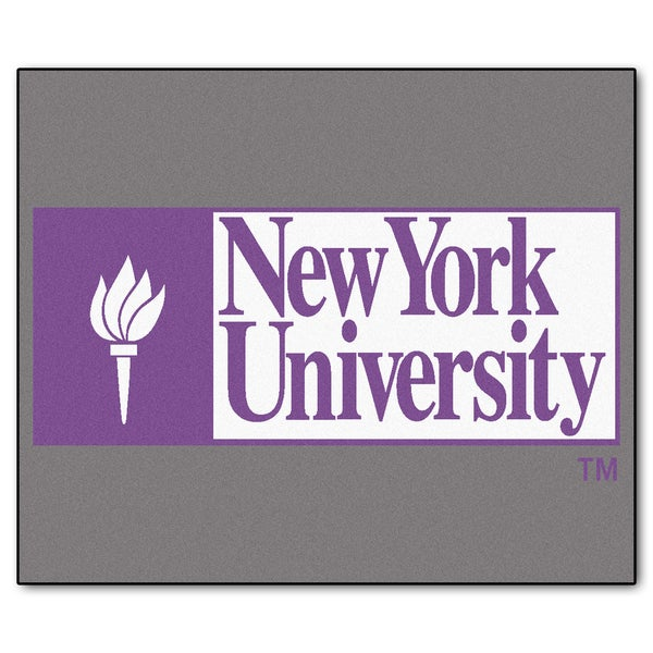 Fanmats Machine-Made NYU Grey Nylon Tailgater Mat (5' x 6')