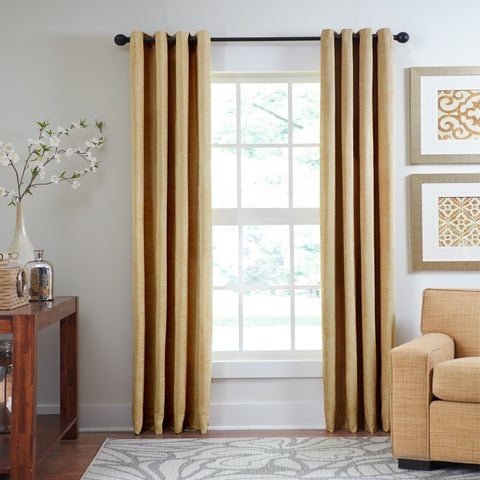 Grand Luxe Chenille Luxe Grommet Window Curtain Panel
