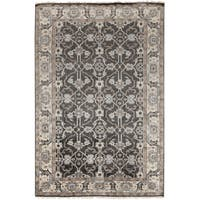 Hand-Knotted Bingham Border Viscose Area Rug