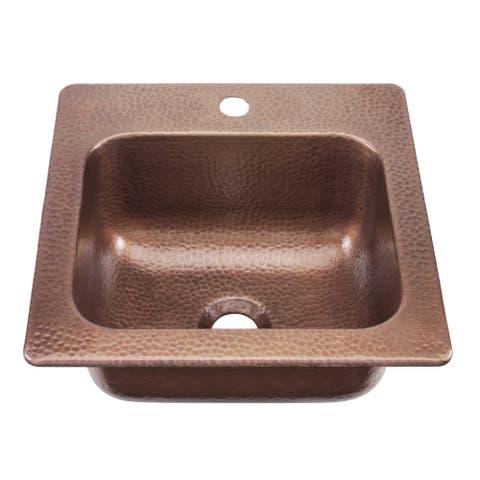 """Sinkology Seurat Handmade Drop-in 15""""Antique Copper Bar Sink - Orange"""