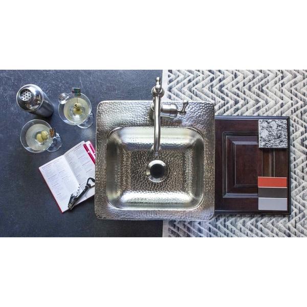 """Sinkology Homer 15"""" Drop-in Single Hole Nickel Bar Sink - Silver. Opens flyout."""
