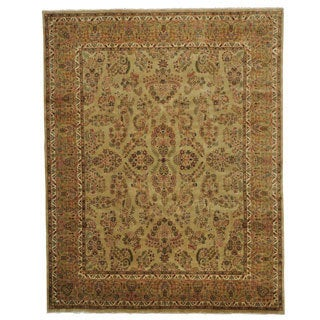 Gold Sarouk Oriental Rug Hand Knotted 100 Percent Wool (8'1 x 10'3)