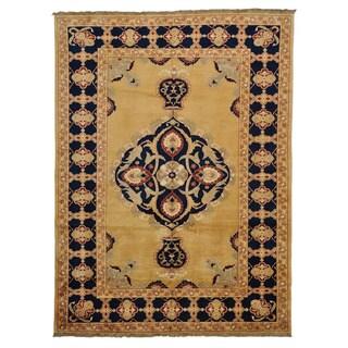 Gold Peshawar Tabriz Design Oriental Rug Hand Knotted (9' x 12'2)