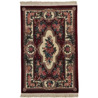 Hand Knotted Wool and Silk Aubusson Design Oriental Rug (3'10 x 6')