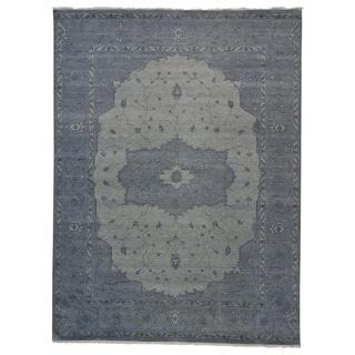 Overdyed Silver Blue Serapi Heriz Oriental Rug Handmade (9' x 12')