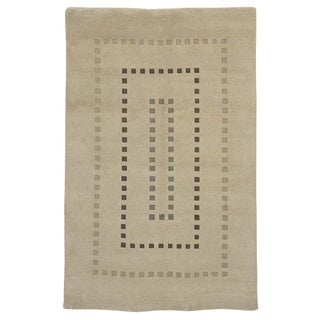 Handmade Ivory Modern Nepali Oriental Rug 100 Percent Wool (5' x 7'8)