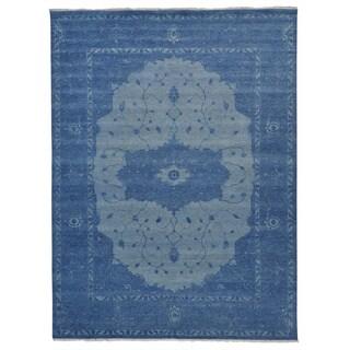 Overdyed Denim Blue Serapi Heriz Oriental Rug Hand Knotted (9' x 12')