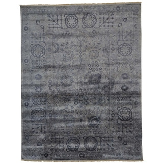 Wool and Viscose from Bamboo Silver Tabriz Oriental Rug Handmade (7'9 x 9'10)