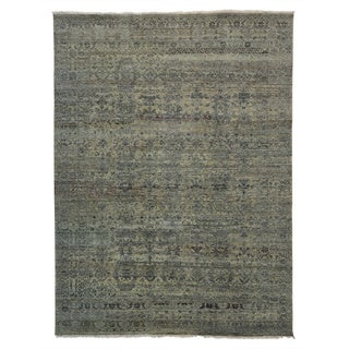 Tansitional Abrash Wool and Rayon from Bamboo Silk Handmade Rug (9' x 12')